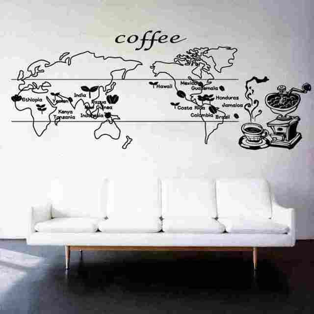 Coffee World Map Sticker Food Decal Cafe Poster Vinyl Art Wall Decals  Pegatina Quadro Parede Decor
