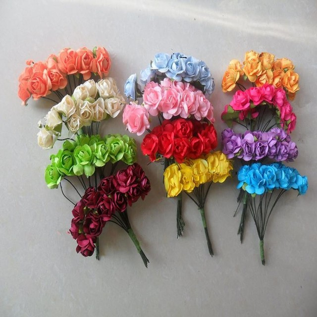 Paper Flowers Wedding Decoration Mini Rose Flower Hand Made Small Bouquet Scrapbooking Christmas