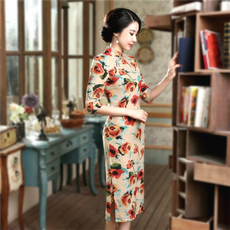 3d12a01b ... ropa mandarín Collar. Cheap Sheng Coco 2019 señora chino Vintage Tulip  Cheongsam imprimir Qipao elegante flor vestido largo 3XL