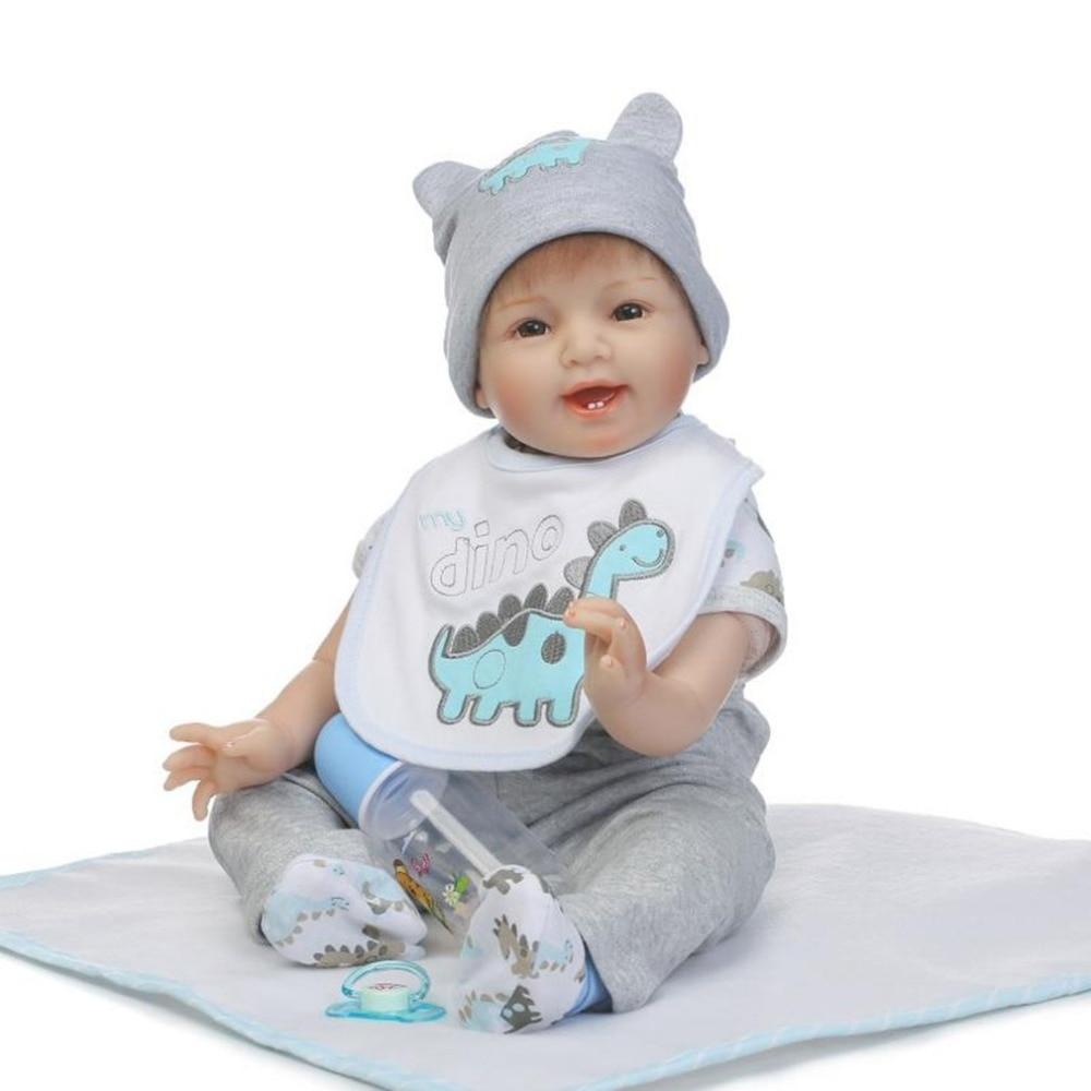 NPK 22 Inch Soft Silicone Reborn Baby Dolls Adorable Lifelike Bebe Reborn Brinquedo Accompany Sleep Cute Vinyl Doll Toy For Kids цена 2017