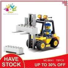 KAZI 8041 70 шт. городской инженер вилочный погрузчик модель грузовика строительный конструктор фигурка игрушки подарки для детей