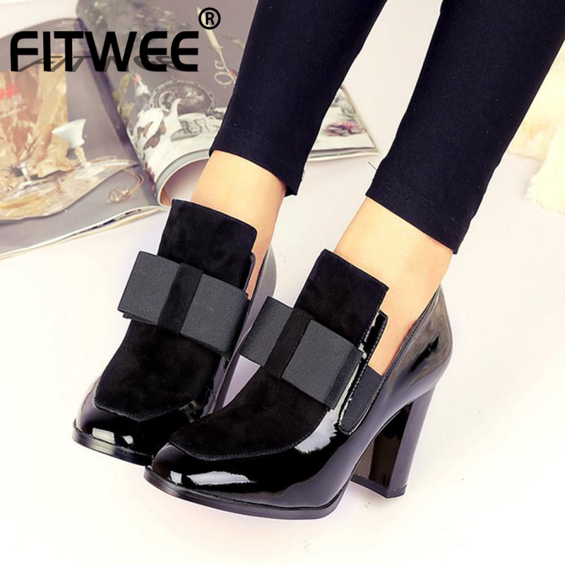 FITWEE Autumn Shoes Boots Spring Bowknot High-Heels Genuine-Leather Women Ankle 33-43