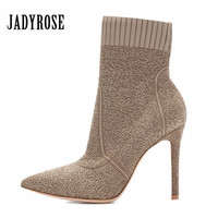 Jady Rose Slim Fit Women Ankle Boots Pointed Toe Stretch Fabric Knit Sock Boot High Heel Shoes Woman Valentine Shoe Women Pumps
