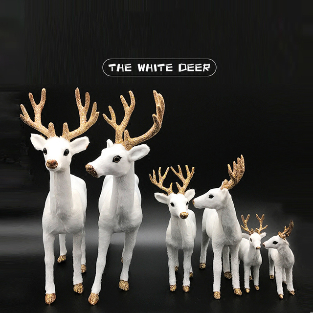 Aqumotic The White Deer Head 1pc Beauty Gold Decor Toy Christmas Decorations Statue Family Art