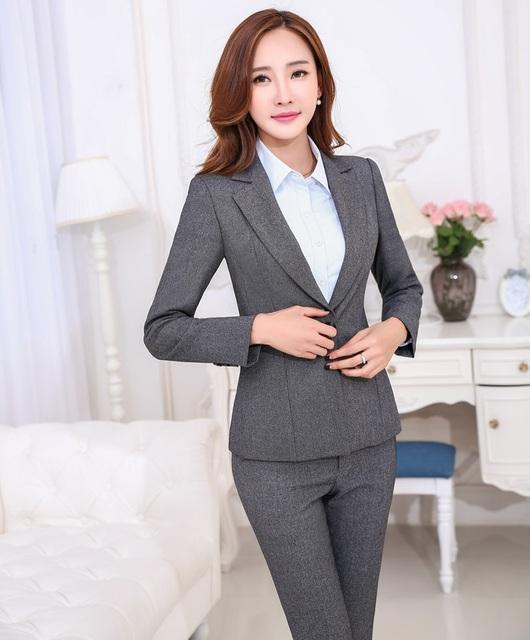 Plus Size 4XL Profissional Formal Styles Uniforme Feminino Pantsuits Escritório Senhoras Jaquetas E Calças Slim Moda Calças Definidos