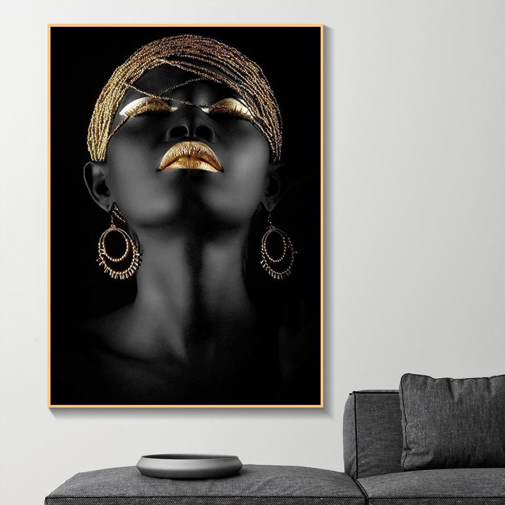 Obraz Na Płótnie Obrazy Na ścianę Piękny Złoty Czarny Lady Złoty Moda Plakaty I Reprodukcje Salon Dekoracji