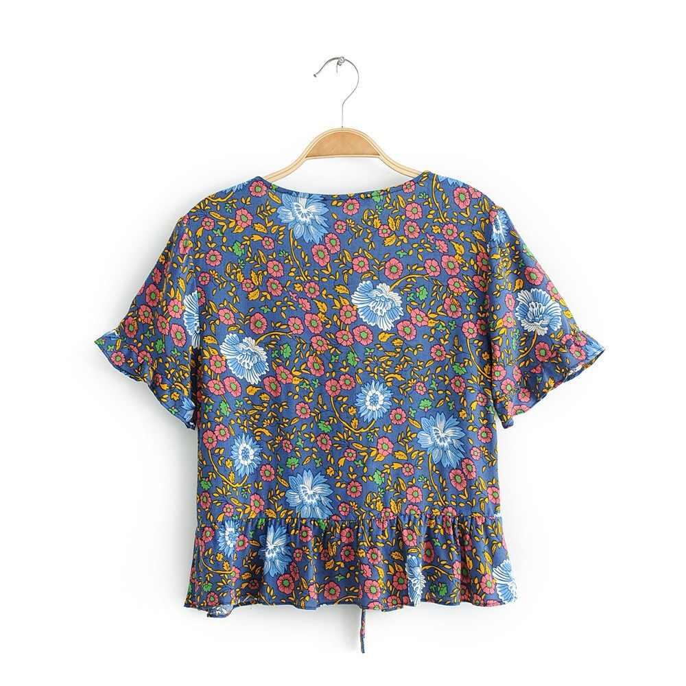 2019 새로운 보헤미안 보우 타이 드 플라워 프린트 기모노 셔츠 빈티지 여성 프릴 반소매 크로스 v 넥 카디건 블라우스 Femme Blusas