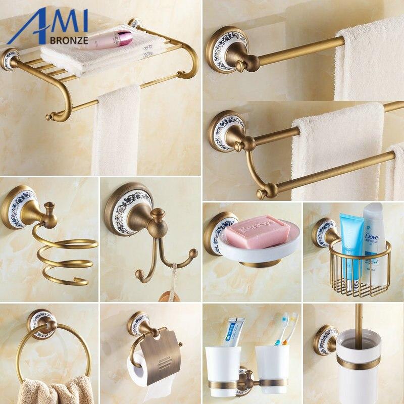Antique Brushed Copper Porcelain Base Bathroom Accessories Bath Towel Shelf  Towel Bar Paper Holder Cloth Hook