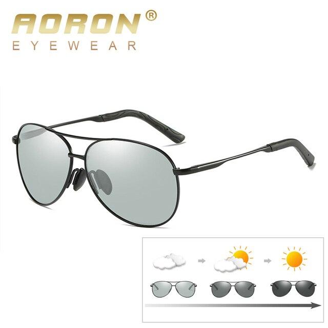 6f4d2f96296ab AORON Pilot Photochromic Sunglasses Men HD Polarized Sunglass Men Chameleon  Sun glasses Male Women Classic Driving Glasses Goggl