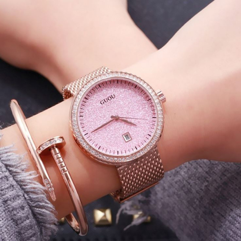 GUOU Fashion Ladies Wrist Watches Women Watches Luxury Diamond Watch Rose Gold Bracelet Watchband Clock saat relogio feminino бра globo 69018w