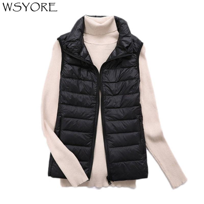 WSYORE Ultra Light White Duck   Down   Sleeveless Jacket 2018 New Autumn and Winter Women Plus Size Slim Duck   Down   Vest   Coat   NS588