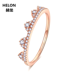 Image 4 - 0.19ct SI/H Natural Diamonds Women Engagement Ring Solid 14k Rose Gold Crown Anniversary Wedding Band Fine Jewelry