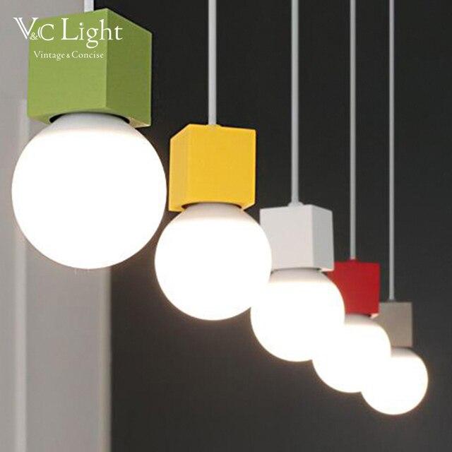 Us 560 V C Kolorowe Mini Sypialnia Wisiorek światła Loft Nordic Drewna Dębowego Lampa Led E27 90 260 W żarówka Zawieszenie Luminaria Dla Pokoju