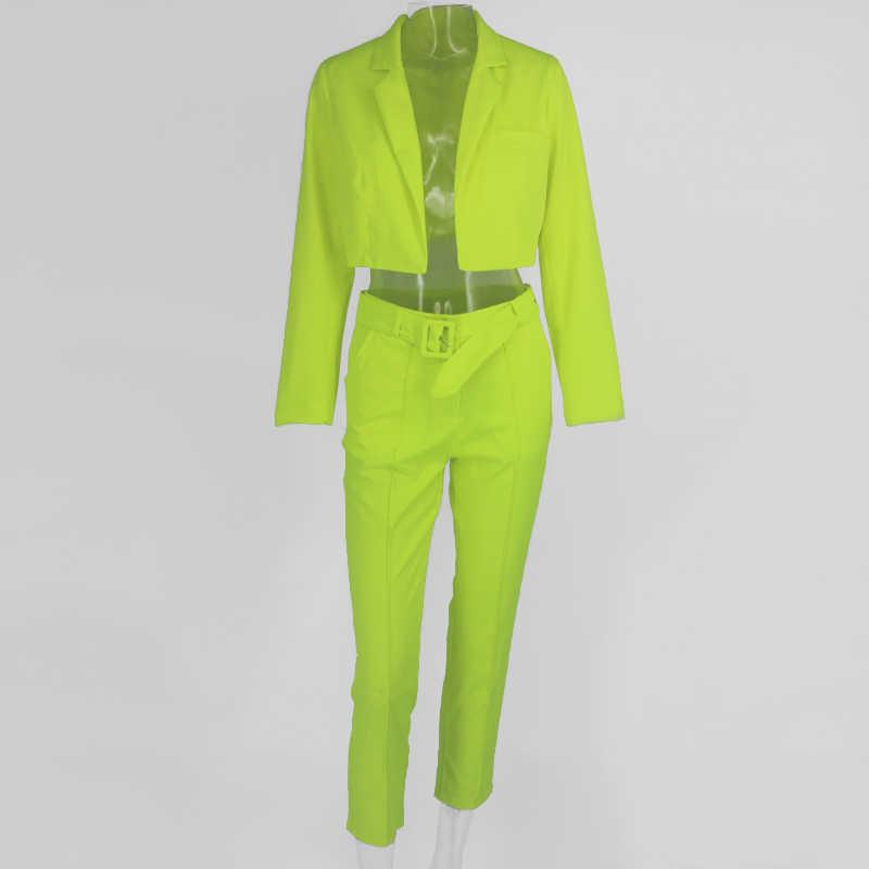 COSYGAL ฤดูใบไม้ร่วงแฟชั่นเสื้อแจ็คเก็ต + กางเกง 2 ชิ้นชุดเซ็กซี่คลับชุด Flourescent Lace Up ชุด 2 ชิ้นชุดเทศกาลเสื้อผ้า