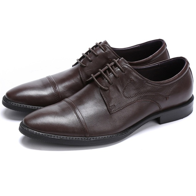 Large Size Eur46 Black Brown Dress Shoes Mens Wedding Sheepskin Leather Office