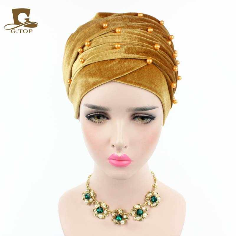 Nuevo turbante de terciopelo de lujo para mujer, diadema con cuentas y tachuelas, turbante de terciopelo Extra largo, pañuelo para la cabeza, Hijab