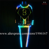 Fullcolor Fiber Optic Light Up Clothes RGB LED Luminous Dance Suit Nightclub Bar Illuminate Stage Performance Ballroom Costume