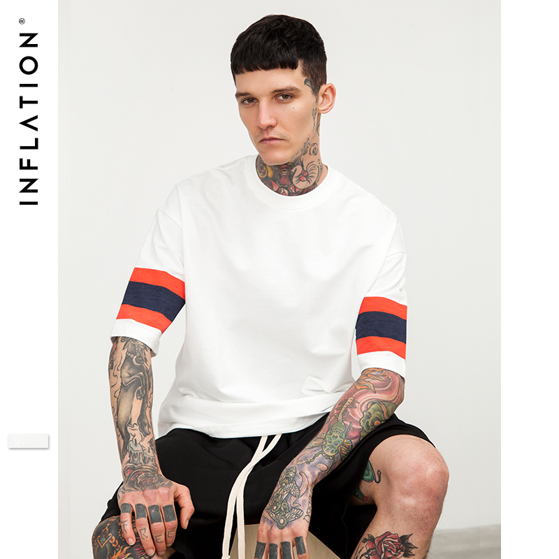 INFLATION Red blue stripe drop shoulder loose t-shirt 2018 New Fashion White T-shirt Man Short Sleeve Top Tees 8196S
