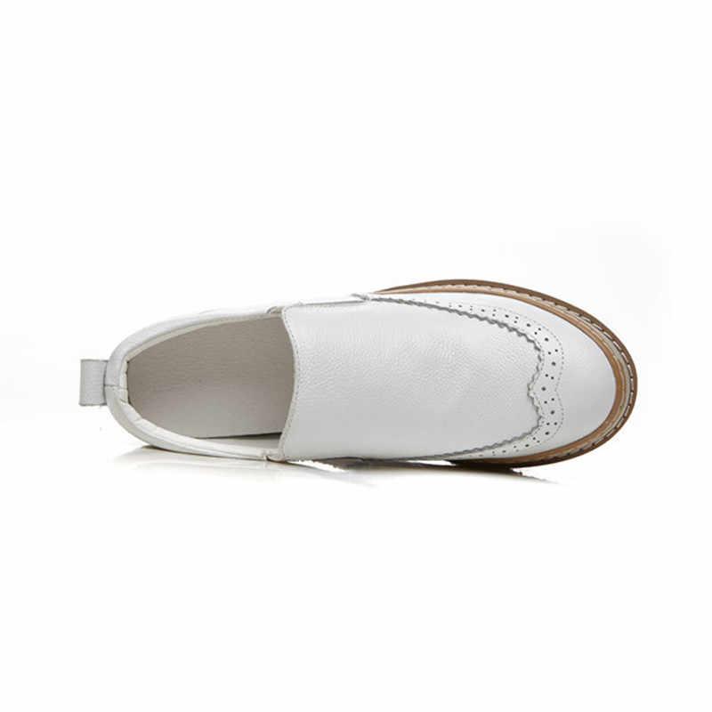 Giày Đế Bằng Nữ Mùa Xuân, Mùa Thu 2019 Da Thật Chính Hãng Da Giày Đế Người Phụ Nữ Cho Nữ Nữ Trơn Trượt Trên Giày Giày Màu Trắng Cho người Phụ Nữ