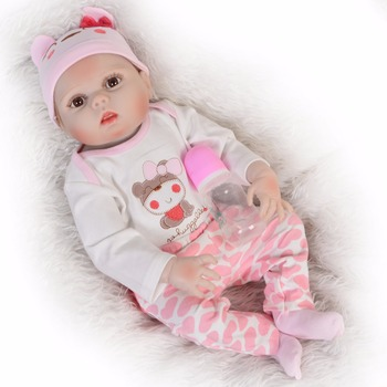 Exquisite bebes reborn doll girl Silicone Baby Doll 55cm real cute Chubby Reborn babies Dolls Kids vinyl bath Toys party Gift