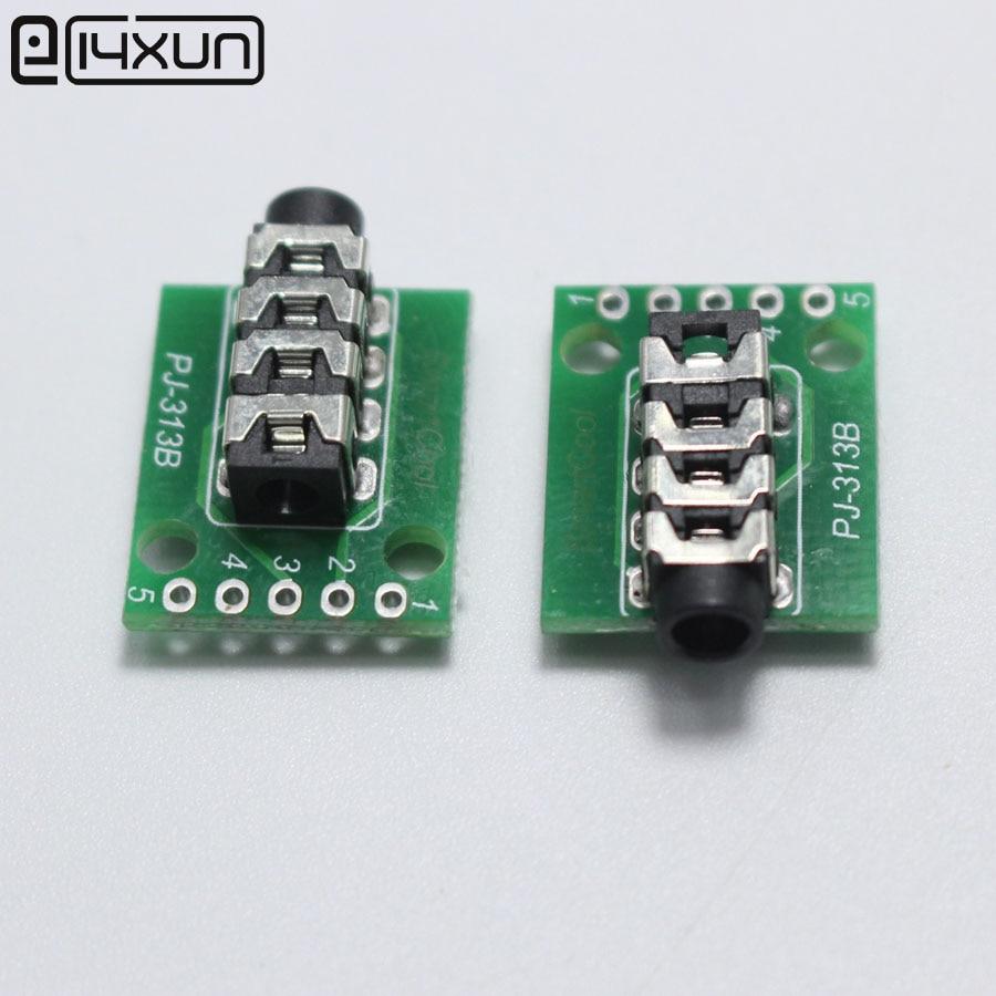 1pcs 3.5 Headphone Jack With PCB Board 3.5mm 4Pole Audio Plugs Connector Port DIY Parts