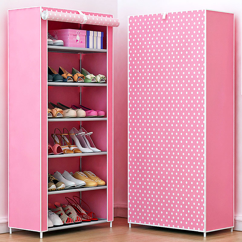 Modern fashion fresh non-woven shoes cabinet shoe closet fully enclosed free admission home furniture multi-functional shoe rack 43 3 inch 7 layer 9 grid non woven fabrics large shoe rack organizer removable shoe storage for home furniture shoe cabinet
