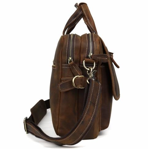 Herrenmode Designer handtaschen Hoher Qualität Leder Braun Leder Aktentasche Portfolio Männer 15,6 laptop Büro Messenger Taschen - 2