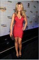 שמלת קיץ משלוח חינם 2016 סקסי V העמוק צוואר שמלה אדום שמלת תחבושת קוקטייל גב הפתוח גוף קון לאישה לילה בחוץ