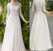 Pure White Hijab Formal Evening Party Dresses 2017 Lace Appliques Beaded Muslim Lady Gowns Full Sleeves Chiffon Robe De Soiree