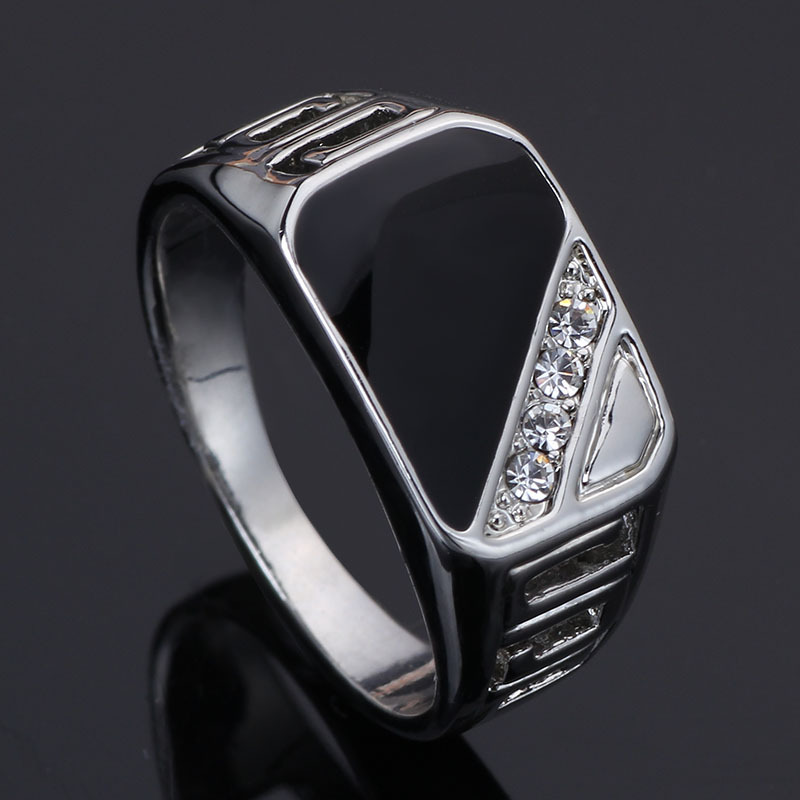 2016 Latest Design Men Jewelry Fashion 18K White Gold Plated Black