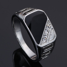 2016 Latest Design Men Jewelry Fashion 18K White Gold Plated Black Enamel Men Finger Ring With CZ Diamond