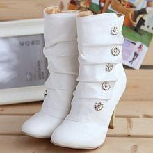 Frauen Schuhe Auf Verkauf Winther Stiefel Neue Sexy Stil High Heel PU Mittlere Wadenstiefel damen Mode Schneeschuhe 3 Farben