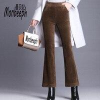 Monbeeph Plus Size S 4XL Women Corduroy Pants Autumn Winter Vintage Fashion Straight Trousers Casual Elastic Waist flare Pants