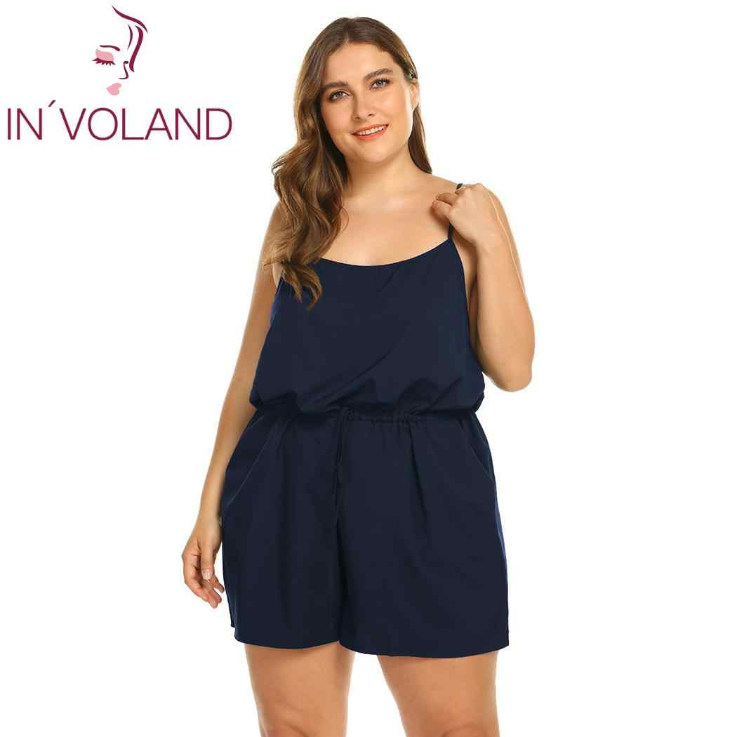 cheaper sale favorable price price reduced IN'VOLAND Women's Plus Size Sleeveless playsuits oversized Adjustable  Spaghetti Strap Short playsuit Rompers