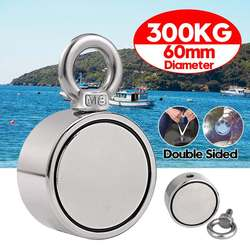 300 kg duplo lado ímã de pesca forte redondo neodímio ímã de pesca puxando pote de montagem com anel buraco mar profundo ferramenta
