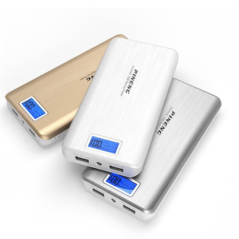 imágenes para Original pineng 20000 mah batería externa banco portable usb cargador de batería del li-polímero con indicador led para el smartphone pn999