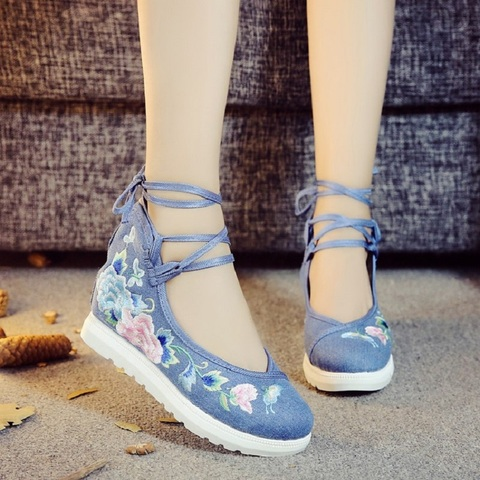 2019 New Women Canvas Increasing Height Ankle Strap Spring Autumn Shoes China Style Vintage Embroiders Wedges Heels Lady Shoes Islamabad