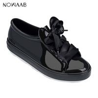Melissa Be + Mickey Minnie 2019 New Women Flat Sandals Brand Melissa Shoes For Women Jelly Sandals Female Jelly Shoes Shoelace