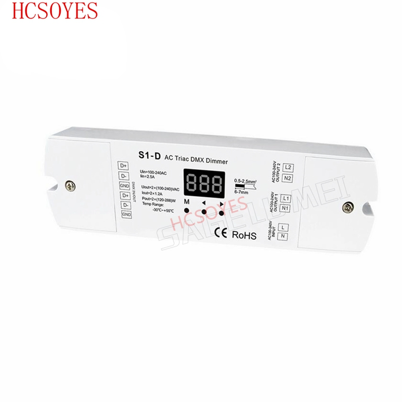S1-D AC100-240V 288W 2 Channel Triac DMX Dimmer, Dual channel output Silicon DMX 512 controllerS1-D AC100-240V 288W 2 Channel Triac DMX Dimmer, Dual channel output Silicon DMX 512 controller
