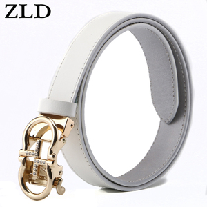 Image 2 - ZLD נשים חגורות יוקרה מפורסם מעצב מותג באיכות גבוהה פרה אמיתי רצועת עור זהב אוטומטי אבזם חגורת עבור שמלה