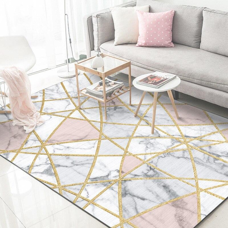 Fashion Nordic Style White Marble Gold Line Bedroom Big Rug Living Room Mat Plush Polyester Non-slip Carpet  Soft 120x160cm Mat