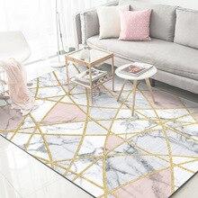 Fashion Nordic style White marble gold line bedroom big rug living room mat plush polyester non-slip carpet  soft 120x160cm