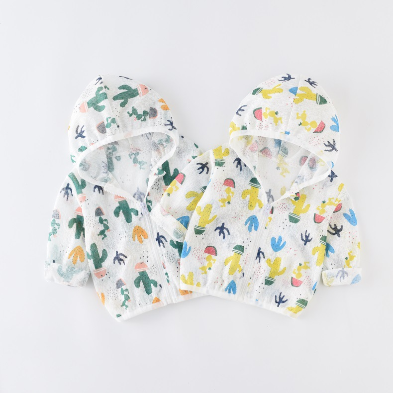 Summer Children Baby Sunscreen Jacket Hooded Outerwear Kid Boys Girls Cactus Pattern Coats Toddler Thin Linen Cotton Clothing