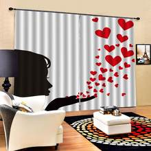 Heart curtains for girls room 3D Curtain Luxury Blackout Window Curtain Living Room(China)