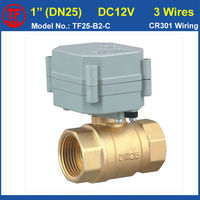 DC12V 3 Wires Motorized Ball Valve 2 Way Brass 1'' (DN25) Electric Actuator Valve For Water Application Quality High Metal Gear