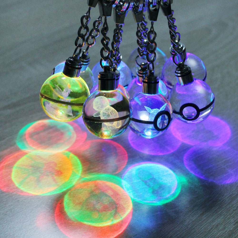 Lot Hot Game Crystal Pokemon Engraving Round 3D Crystal Ball LED Keychain Colorful Pendant New exotic lights Child Gift HY Brand