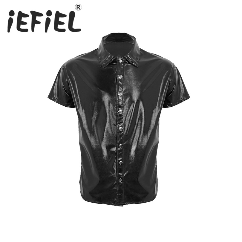 New Arrival Male Nightwear T Shirt Mens Patent Leather Short Sleeves Shirt Clubwear Undershirt for Stage Performance Cosplay