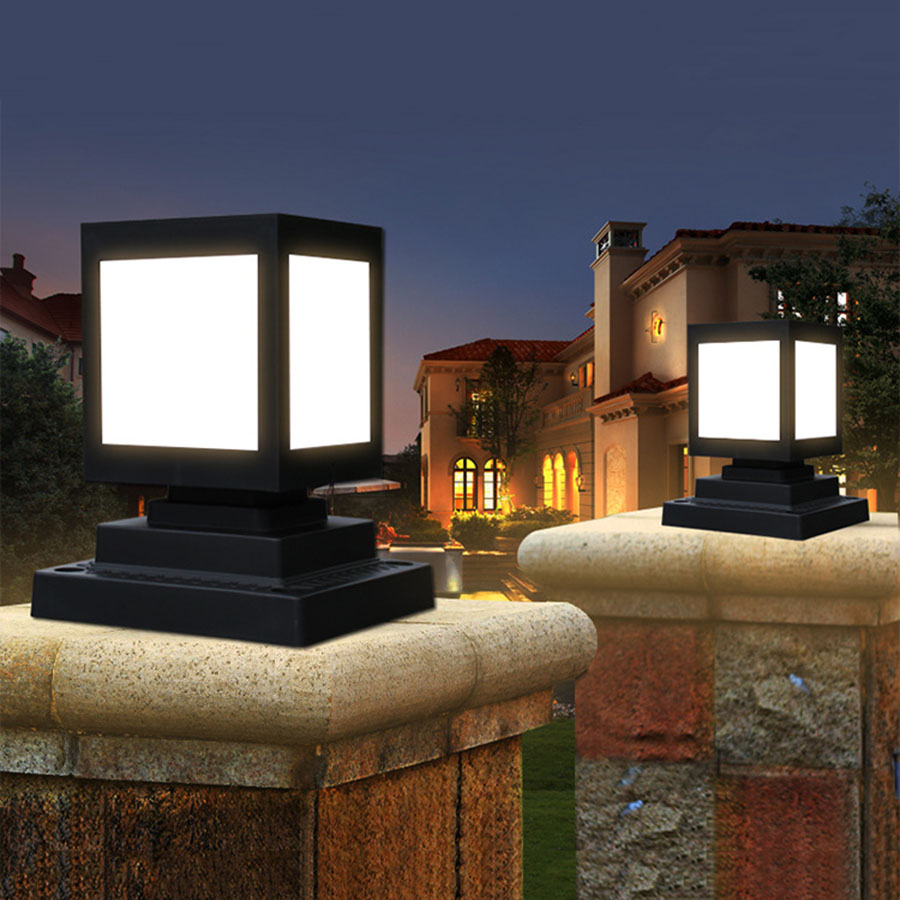 BEIAIDI Outdoor Solar Garden Fence Pillar Lamp Waterproof Villa Parking Courtyard Gate Column Light Pool Street Post Cap Lamp
