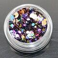 12 colores 1 g/caja Nail Art Glitter Confetti Formas REDONDAS lentejuelas Gel ULTRAVIOLETA de Acrílico Consejos B Estilo de Arte de Uñas de Metal rueda