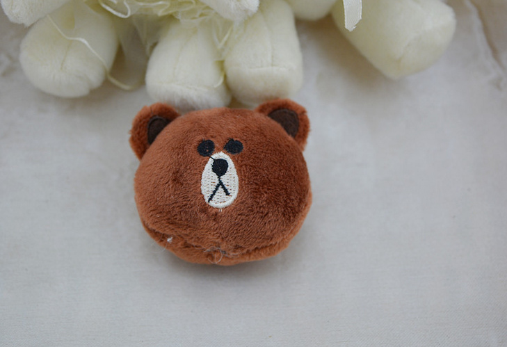 CUTE 5CM Little Brown Bear and Pink Plush Rabbit Stuffed Plush TOY , Bouquet Gift Plush Toy , hairband accessories toys dolls